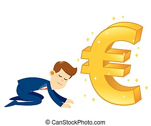 Businessman Worshipping Money Golden Euro Symbol