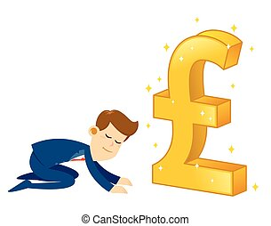 Businessman Worshipping Money Golden Pound sterling Symbol
