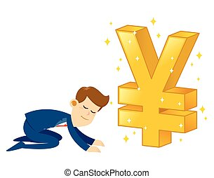 Businessman Worshipping Money Golden Yen Symbol