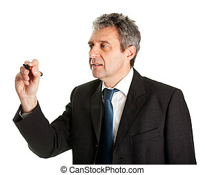 Businessman wring a sketch