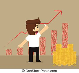 businessman write rising graph on the wall
