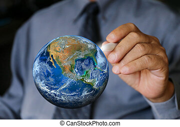 businessman write the earth, Elements of this image furnished by NASA