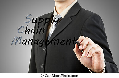 Businessman write the word supply chain management