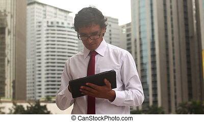 Businessman writes