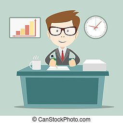 Businessman writing a business plan, tax letter,
