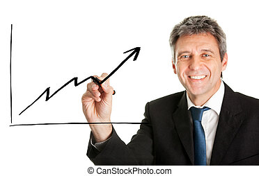 Businessman writing a financial graph