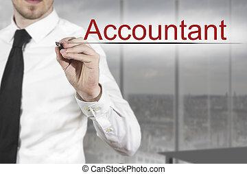 businessman writing accountant in the air