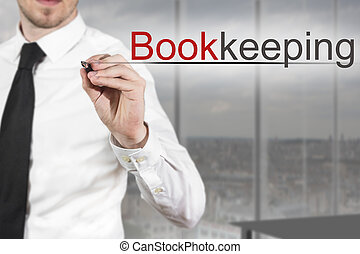 businessman in office writing bookkeeping in the air