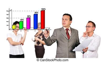 businessman writing chart