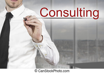 businessman writing consulting in the air