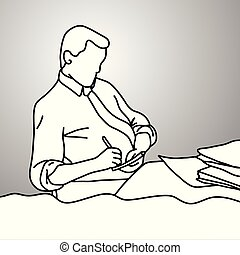 businessman writing down on paper on his desk vector illustration doodle sketch hand drawn with black lines isolated on gray background. Business concept.
