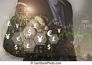 Businessman writing financial analysis graph with signs money. concept exchange currency.