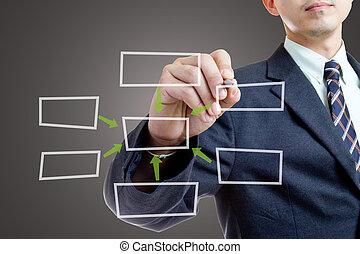 Businessman writing growing graph