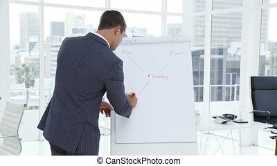 Businessman writing in a whiteboard a business plan -...