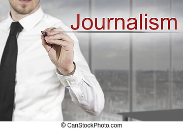 businessman writing in the air journalism