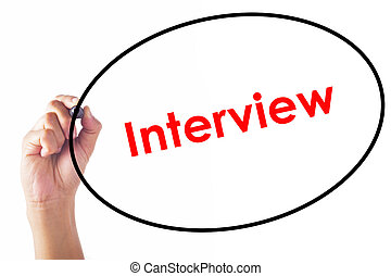 Businessman writing Interview word with pen