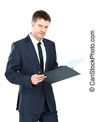 businessman writing on clipboard wear elegant suit and tie...