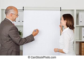 businessman writing on flipchart