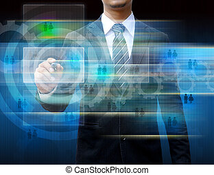 Businessman writing on the screen