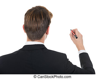 Businessman Writing On White Background