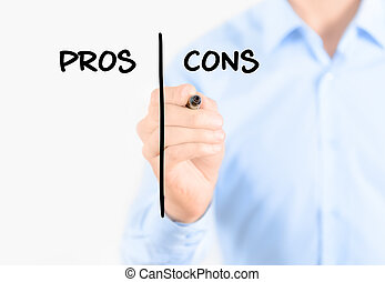 Young businessman holding a marker and writing pros and cons comparison concept for weigh all arguments. Isolated on white background.