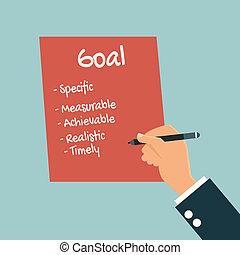 Businessman writing smart goal
