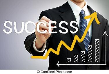 Businessman writing success with a rising arrow