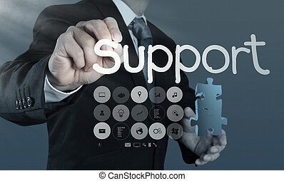 businessman writing support concept - businessman hand...