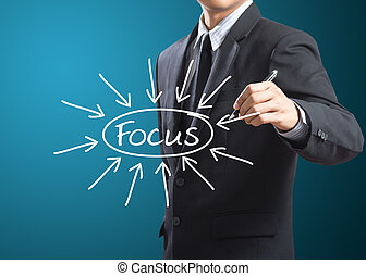 businessman writing target on focus