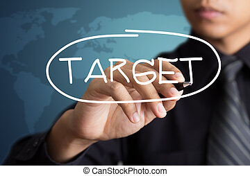 businessman writing target word