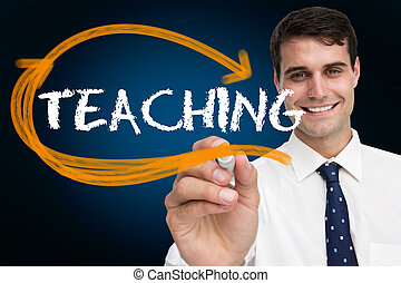 Businessman writing the word teaching against blue...