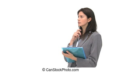 Businessman writting on her notebook