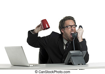 businessman yelling on the phone