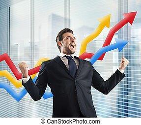 Businessman yells for triumph