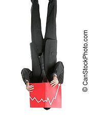 Businessman young negative chart, full length