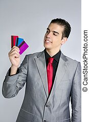 Businessman young with three credit cards