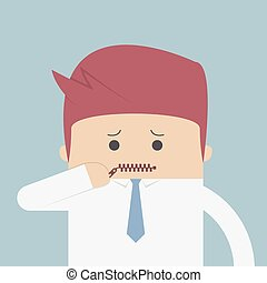 Businessman zipped his mouth, Inarticulate concept, VECTOR,...