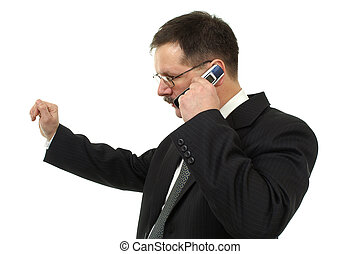 businessmanit, fala, por, telefone móvel