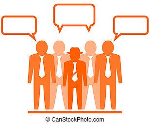 businessmans, ícone, equipe