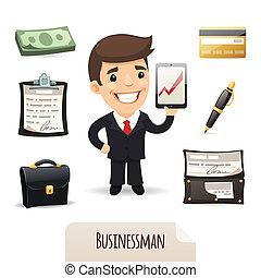 businessmans, セット, アイコン