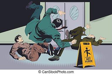 Businessman's falls on wet floor. Warning sign. Stock illustration.