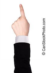 Businessman's finger pointing or touching - image of a...