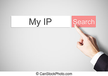 finger pushing red web search browser button my ip