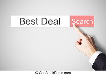 businessmans finger pushing web search button best deal