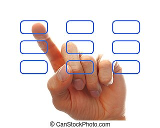 businessman?s hand chooising one of the options, isolated on...