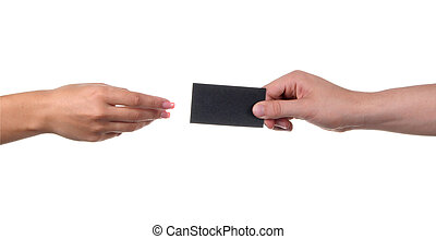 Businessman's hand holding blank paper business card