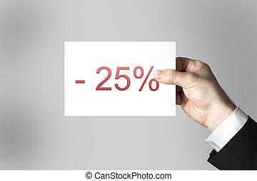 businessmans hand holding card twentyfive percent off