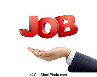 businessman's hand holding job words