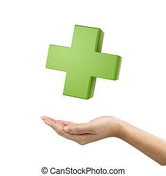businessman's hand holding medical symbol