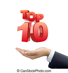 businessman's hand holding top 10 words over white ...